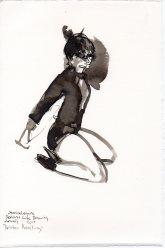 """Kristen Kneeling Ink on watercolor paper 11.25"""" x 7.5"""""""