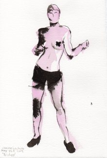 """Kristen Acrylic and ink on watercolor paper 11"""" x 7.5"""""""