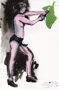 """Leaf Acrylic and ink on watercolor paper 11"""" x 7.5"""""""