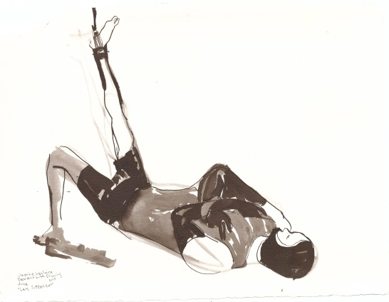 "Leg Suspension Ink on watercolor paper 7.75"" x 11.5"""