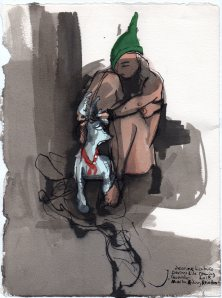 """Marta Riding Reindeer Acrylic and ink on watercolor paper 11"""" x 8.25"""""""