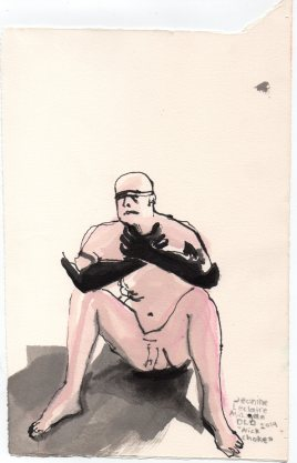 """Nick Choke Acrylic and ink on watercolor paper 10.75"""" x 7.25"""""""