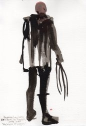 """Nick with Flogger Acrylic and ink on watercolor paper 11"""" x 7.5"""""""