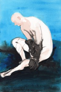 """Nick's Glove Acrylic and ink on watercolor paper 11.25"""" x 7.5"""""""