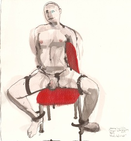 "Nick's Red Chair Acrylic and ink on watercolor paper 12"" x 11"""