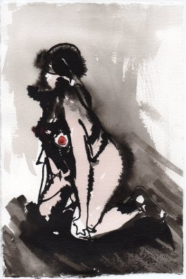 """Nipple Acrylic and ink on watercolor paper 11.25"""" x 7.5"""""""