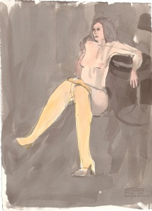 """Pantyhose at the Knees Acrylic and ink on watercolor paper 15"""" x 10.75"""""""