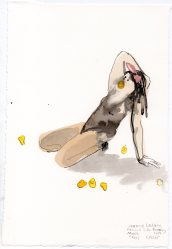 """Peep Crisis Acrylic and ink on watercolor paper 11.25"""" x 7.5"""""""