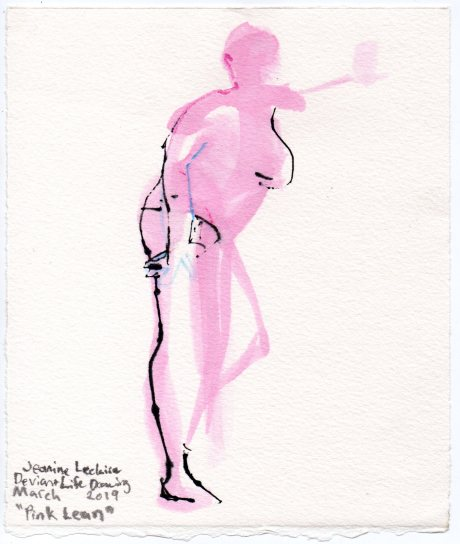 """Pink Lean Acrylic and ink on watercolor paper 7"""" x 6"""""""