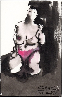 "Pink Panties Acrylic and ink on watercolor paper 6"" x 3.75"""