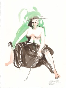 """Post-Apocalyptic Witch Trudy at her Practice Acrylic and ink on watercolor paper 15"""" x 11"""""""