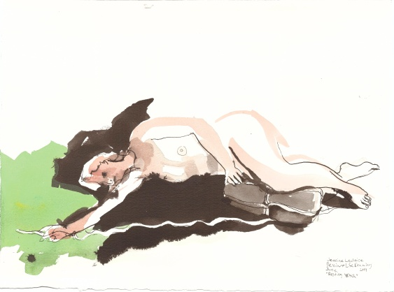 """Resting Witch Acrylic and ink on watercolor paper 11"""" x 15"""""""