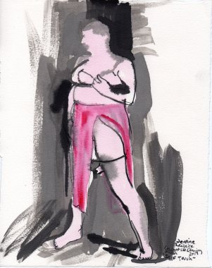 """Self Touch Acrylic and ink on watercolor paper 10.75"""" x 8.5"""""""