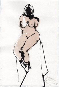 """Sitting Still Acrylic and ink on watercolor paper 11.25"""" x 7.5"""""""