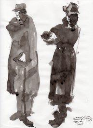 """Spies Ink on sketchbook paper 11.75"""" x 8.5"""""""