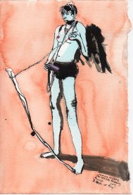 """St. Steph at Play Mixed media on watercolor paper 11.25"""" x 7.5"""""""