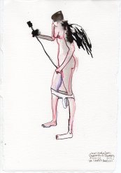 """St. Steph's Panties Watercolor pencil and ink on watercolor paper 11.25"""" x 7.5"""""""