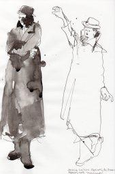 "Trenchcoats Ink on sketchbook paper 11.75"" x 7.75"""