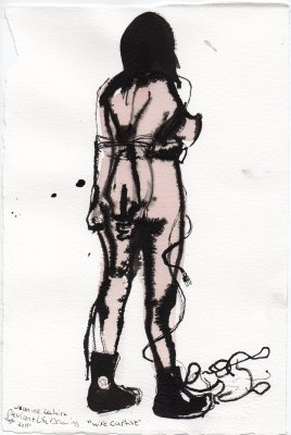 """Wire Captive Acrylic and ink on watercolor paper 11.25"""" x 7.5"""""""